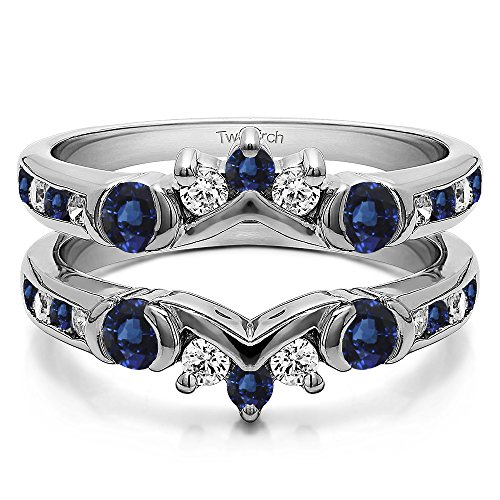 Silver Half Halo Classic Style Ring Guard with Diamonds and Sapphire (1 ct. twt.) by TwoBirch
