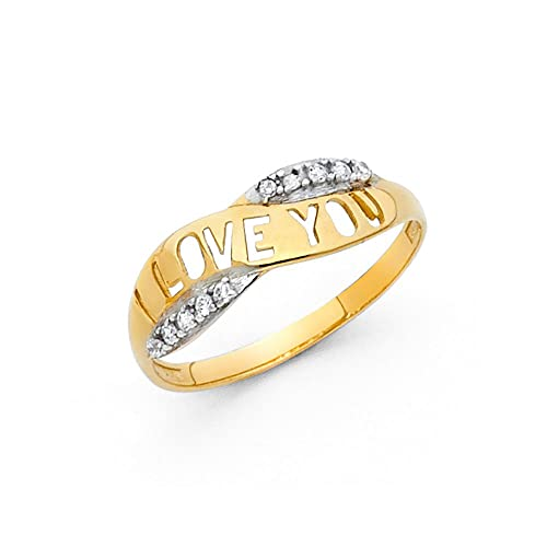 Paradise Jewelers 14K Solid Yellow Gold I Love You Cubic Zirconia Ring