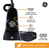 GE 24-Hour Heavy-Duty Outdoor Mechanical Timer, Programmable Daily Cycle, 30-Minute Intervals, Push Pins, 2 Grounded Outlets, Weather Resistant, Ideal for Security, Patio, Seasonal Lighting, 15138