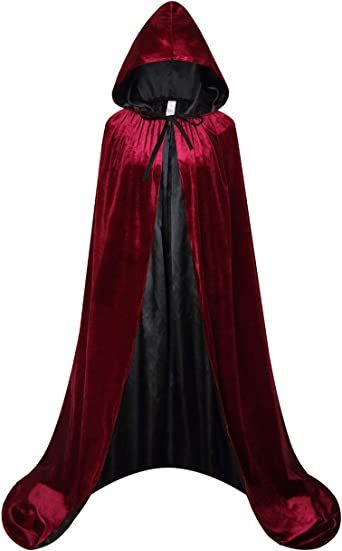 Red Medieval Hooded Long Cloak Cape Men Women Gothic Party Fancy Dress Costume