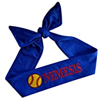 Softball Tie Back Moisture Wicking Headband Personalized with the Embroidered Name of Your Choice