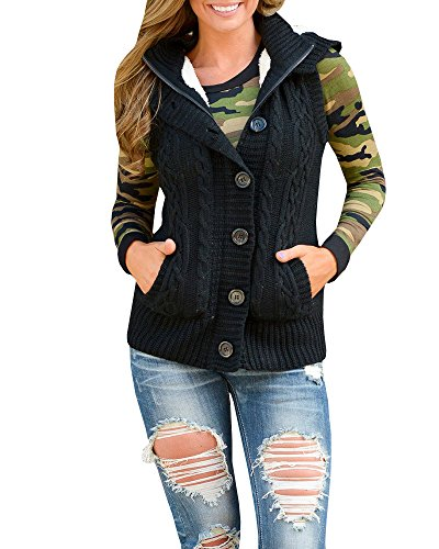 Ermonn Women Sweater Vest Unisex Sleeveless Button Down Fleece Hooded Jacket Hooded Ribbed Cardigan