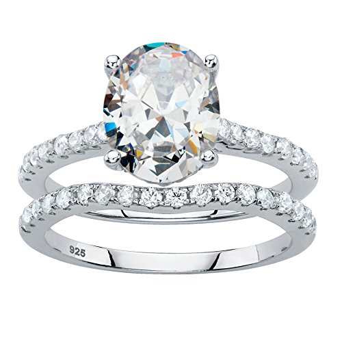 Platinum over Sterling Silver Oval Cut and Round Cubic Zirconia 2 Pair Bridal Ring Set Size 8