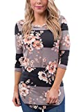 Asvivid Womnes Floral Print 3 4 Sleeve T Shirt Casual Striped Blouse Tops M Brown