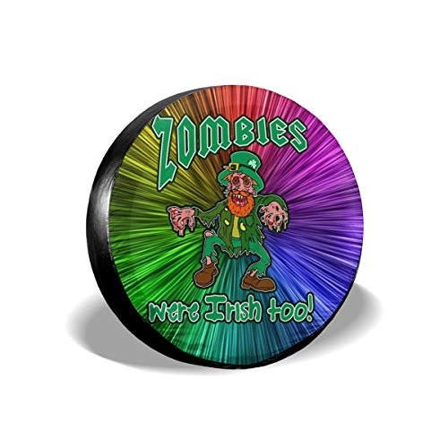 St Patricks Day Leprechaun Zombie Scary Spare Tire Cover Rear Car Decorations Holiday Ornament Wheel Accessories Decor Protector 14 15 16 17 Inch for Jeep Trailers RV SUV Trucks Offroad Parts]()