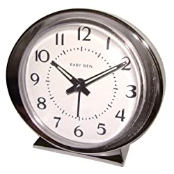 WESTCLOX 11611 Baby Ben Classic Key-Wound Silvertone Alarm Clock WLM