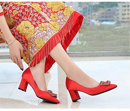 HXVU56546 Nueva Temporada De Primavera Y Otoño La Mujer Dama Nuevo Llanamente Abrocha Agua Perforar Señaló Zapata Única Y La Novia Zapatos Zapatos De Mujeres Del Partido Del Partido gules