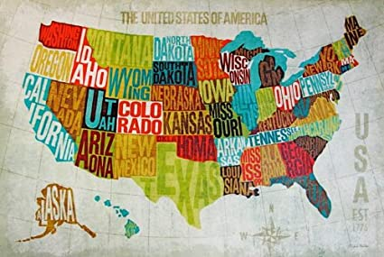 United States Map Canvas Wall Art.Amazon Com Buyartforless Usa Modern Blue By Michael Mullan Map Of