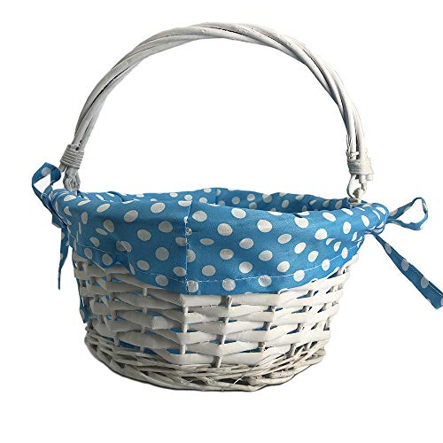 CFP White Easter Wicker Baskets - Kids Easter Gift Baskets, Wicker Easter Baskets with Polka Dot Liner, Traditional Kids Easter Gift Basket, Polka Dot Liner Can Be Uninstall and Tie Back (Blue Dot)