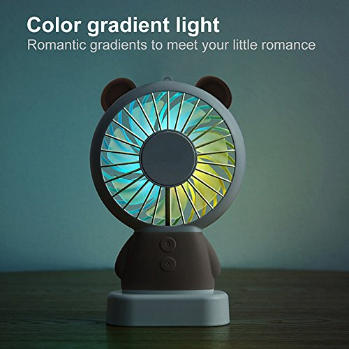TechCode Handheld Electric Fans, Cute USB Charger Noiseless Fans 2 Speed Adjustable Rechargeable Handhold Portable Personal Fans Creative Cooling Mini Fan with Colorful Led Night Light (Brown) by TechCode (Image #5)
