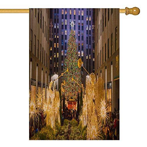 Rockefeller Center Halloween (Shorping Xmas House Yard Flag, Winter Garden Flag Decorative Christmas Garden Flag 28X40Inch New Center All Decorated The Newly Christmas Tree December Rockefeller Seasonal Garden Flag Yards)
