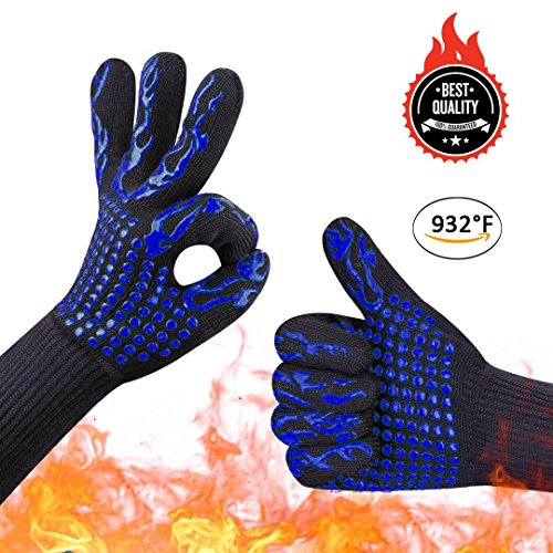 Awekris BBQ Grilling Cooking Gloves, 932℉ Extreme Grill Heat Resistant Gloves, Grill Oven Safety Mitts for Cooking, Baking, Barbecue Potholder - 1 Pair 14 inch Long for Extra Forearm Protection