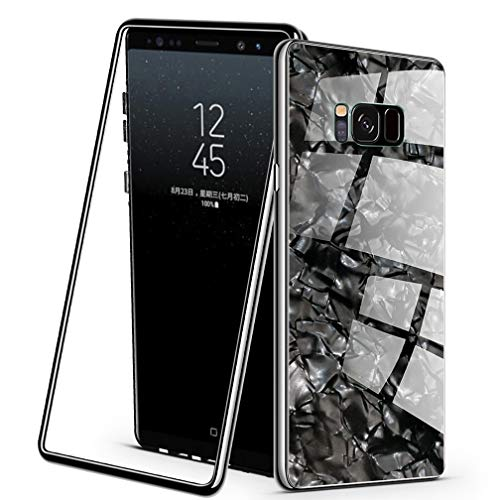 PKeiPo Compatible Samsung Galaxy S8 Plus Case, Magnetic Adsorption PC Frame Coloured Shellfish Pattern Tempered Glass Back Cover with Built-in Magnet Flip with a Screen Protector (Black) ()
