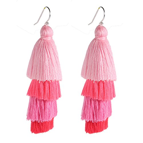 Bonnie Four Layered Earring Tassel Sterling Silver Hook Bohemia Ethnic Tiered Thread Earrings (Pink) -