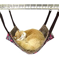 Alfie Pet by Petoga Couture - Rio Cat All-Season Hammock - Pattern: Brown Flower, Size: Small