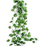 Zunso 7-Ft (12pc) Leaf Artificial for Decoration Fake Greenery Hanging Vine Plant Leaves Jungle Theme Garland Home Garden Wall Decoration