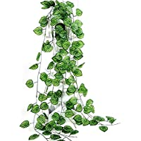 Zunso 7-Ft (6pc) Leaf Artificial for Decoration Fake Greenery Hanging Vine Plant Leaves Jungle Theme Garland Home Garden Wall Decoration