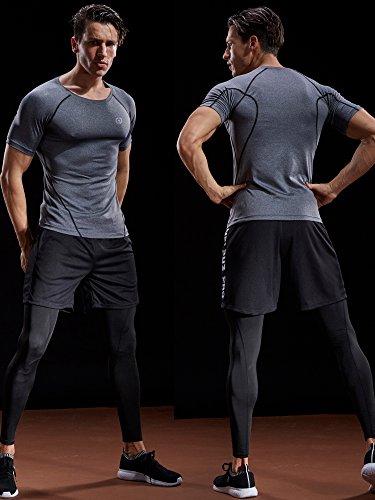 Neleus Men's 3 Pack Compression Baselayer Athletic Workout T Shirts,5022,Black,Grey,White,US S,EU M by Neleus (Image #2)