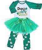 Angeline Girls ST Patrick's Day Daddy Lucky Charm Ruffles Shirt Skirt Set 6/XL