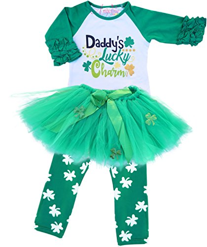 Angeline Girls ST Patrick's Day Daddy Lucky Charm Ruffles Shirt Skirt Set 7/3XL -
