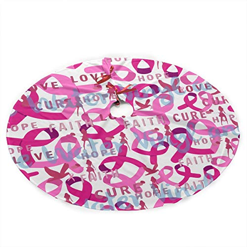 Pink Breast Cancer Logo Christmas Tree Skirt 35.5