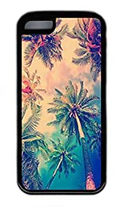 iPhone 5C Case, Personalized Protective Rubber Soft TPU Black Edge Case for iphone 5C - Coconut Trees Cover