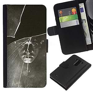 A-type (Black White Vintage Retro Photo) Colorida Impresión Funda Cuero Monedero Caja Bolsa Cubierta Caja Piel Card Slots Para LG G3