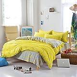 zhENfu Bedtoppings Comforter Duvet Quilt Cover 4pcs Set Queen Size Flat Sheet Pillowcase Yellow Grey Pattern Prints Microfiber,Queen