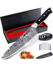 Chef Knife, MOSFiATA Kitchen Knife 8 inch, Premier High Carbon German 4116 Stainless Steel Knife, Full Tang Blade Cook Knife with Finger Guard, Knife Sharpener, Blade Guard, Gift Box Ultra Sharp