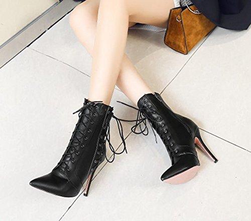Lace Up Booties Stilettos Zipper Women's Toe Pointy Elegant Aisun Black High With IRxXqOwH