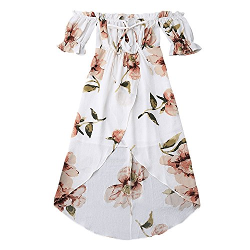 KCatsy Ruffle Off Shoulder Asymmetric Floral Dress White ()
