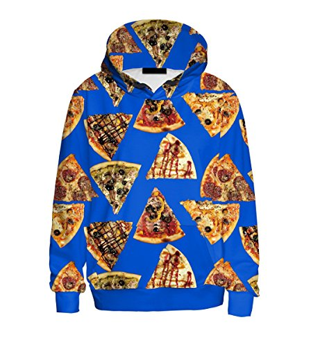 Mosszra Yummy Pizza Colorful Digital Print Casual Pocket