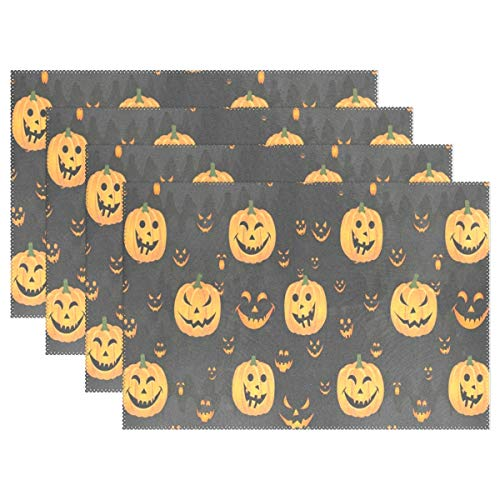 NMCEO Place Mats Halloween Pumpkin Face Personalized Table Mats for Kitchen Dinner Table Washable PVC Non-Slip Insulation Set of 4 -