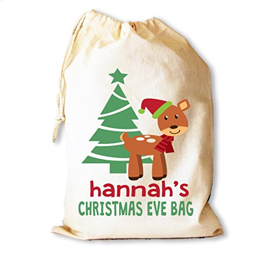 30 bolsa algodón de medio 25 de Diseño cordón para regalo reno bebé Nochebuena nbsp;x nbsp;cm con de x1fwEnqItv
