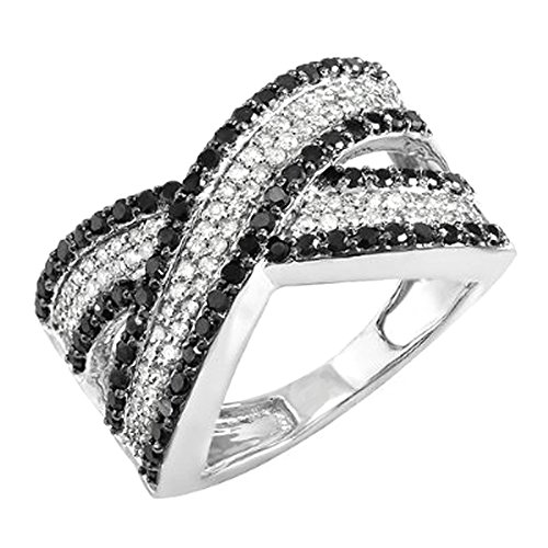 1.00 Carat (ctw) 10k White Gold Round Black & White Diamond Ladies Cocktail Right Hand Ring 1 CT (Size 7) by DazzlingRock Collection
