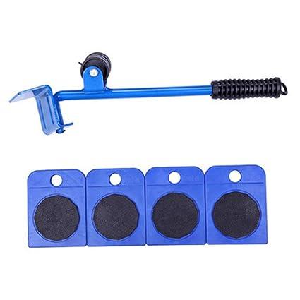 XuBa - Juego de 5 herramientas para mover muebles, elevador de transporte, 4 ruedas