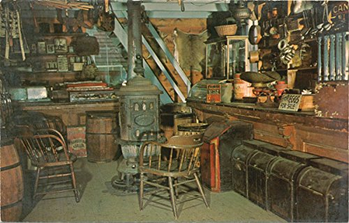 Vintage Postcard Print | Stephen's General Store (reconstructed by Staten Island Historical Society, int. of typical general store, | Historical Antique Fine Art - Staten Island Stores