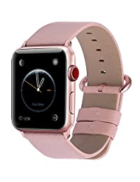 Fullmosa Apple Watch Band 42mm Genuine Leather iwatch Strap/Band for Apple Watch Series 3 Series 2 Series1 Nike+ Hermes&Edition Men and Women, 42mm Soft Pink+Rose Gold Buckle