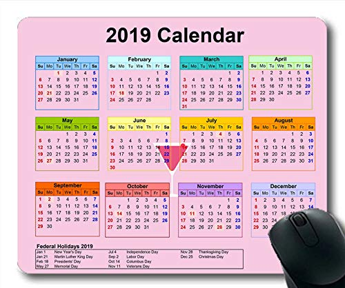 Yanteng Alfombrilla de ratón Calendario 2019 Negra ...