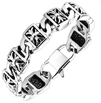 Amazon Com Mens Royal Cross Bracelet In Polished Stainless Steel