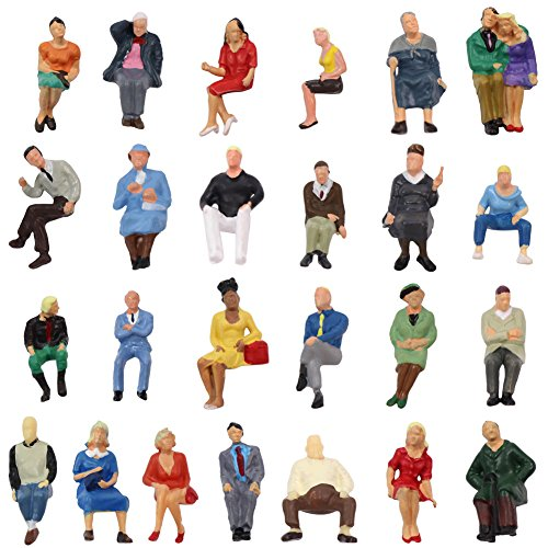 P4806 25 pcs All Seated Figures O Gauge 1:50 Scale Painted People 2.59-3.28cm or 1.02