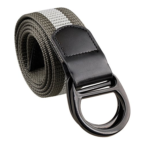 Samtree Nylon Web Belts for Men Women,Double D-ring Buckle Tactial Belt(Dark Grey) (Ladie D-ring Belt)