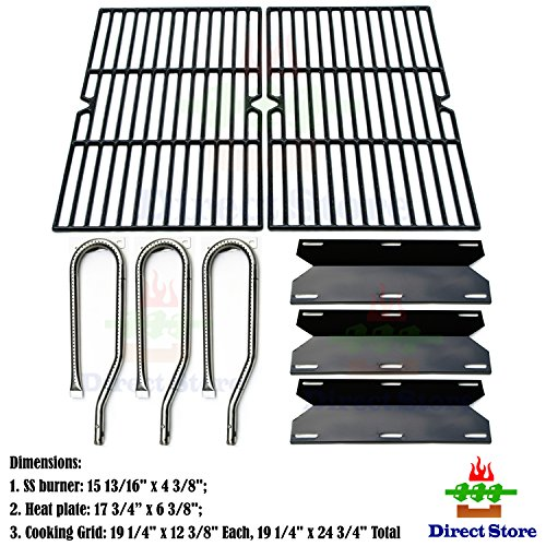 Direct store Parts Kit DG130 Replacement Jenn Air Gas Grill 720-0336 Burners, Heat Plates,Cooking grids(Stainless Steel Burner + Porcelain Steel Heat Plate + Porcelain Cast Iron Cooking Grid)