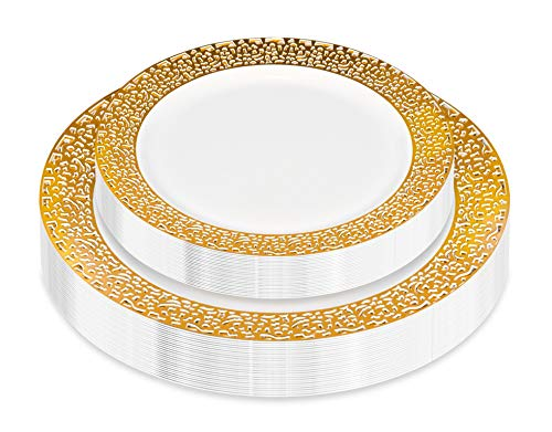 50 Piece Elegant Disposable Plates with Gold Lace Rim | Heavy Duty Plastic Dinnerware - Fancy Plates for Weddings and Parties - Set Includes 25 Dinner Plates and 25 Salad Plates (Gold Lace)