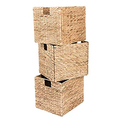 Decorative Hand-Woven Water Hyacinth Wicker Storage Baskets, Set of Three 13x11x11 Baskets Perfect for Shelving Units - Set of three small wicker storage baskets each measuring 13-inches L x 11-inches W x 11-inches H assembled These decorative storage boxes are a great addition to any home and are suitable for storing a wide range of household items The baskets conveniently fold flat for easy storage when not in use - living-room-decor, living-room, baskets-storage - 51VGbTzs3cL. SS400  -
