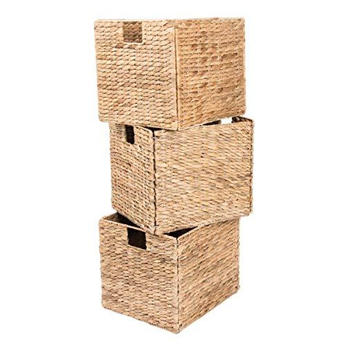 - Yankee Trader Decorative Hand-Woven Small Water Hyacinth Wicker Storage Baskets, Set of Three