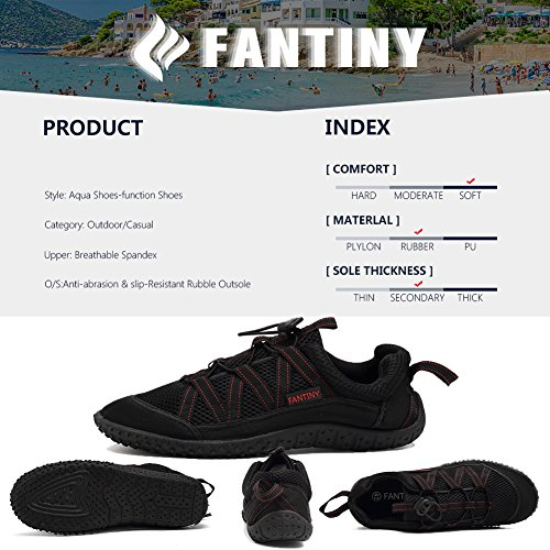 CIOR Männer und Frauen Aqua Schuhe schnell trocknende Wasser Sportschuhe für Beach Pool Boating Swim Surf Re.black