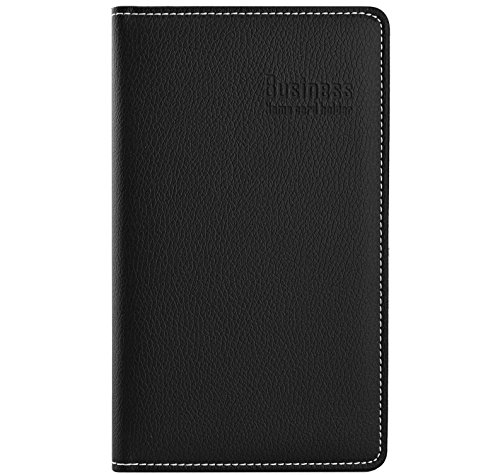 Leather Credit Card Organizer - Maxgear PU Leather Business Card Book Holder, Business Card Organizer, Name Card Book Holder -Holds 180 Cards Black