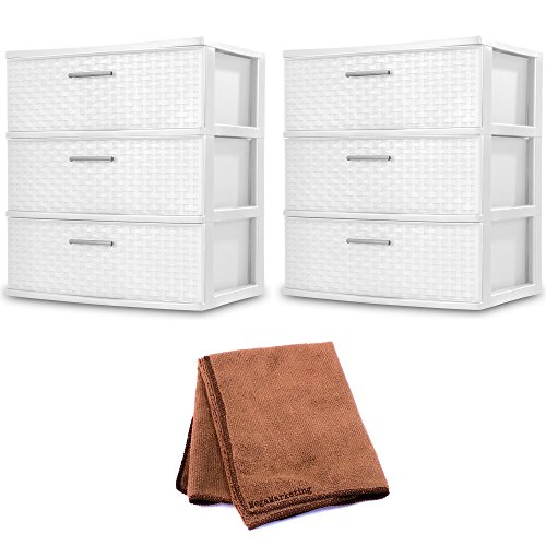 Sterilite 3-Drawer Wide Weave Tower, White, 2-Pack with Cleaner Cloth