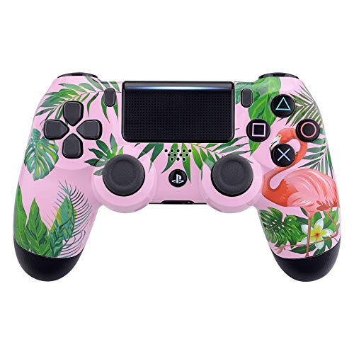 (eXtremeRate Tropical Flamingo Patterned Front Housing Shell Faceplate Cover for Playstation 4 PS4 Slim PS4 Pro Controller (Model: CUH-ZCT2 JDM-040 JDM-050 JDM-055))